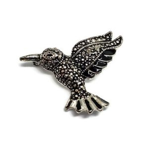 1980s Hummingbird Black Enamel Brooch